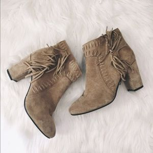 Leather Fringe Ankle Boots